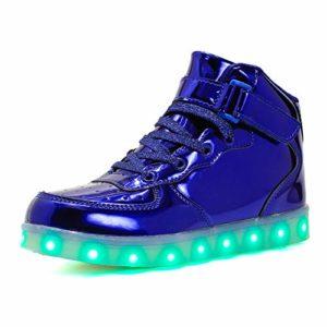 KCHKUI-UK Enfant LED Chaussures 7 Couleurs Lumières Clignotantes Baskets Mode USB Rechargeable Multisports Outdoor Chaussure Haut Luminaires Gymnastique Randonnée Running Athlétisme Sneakers