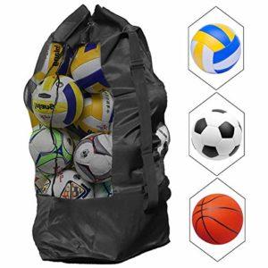 Kissral Sac à Ballons de Foot – Grand Capacité 10-15 Ballons Sac de Transport pour Basket-Ball Football Volley-Ball Sac Bandoulière Rangement des équipements de Sport Plage – 110 * 49 CM – Noir