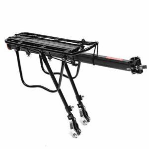 KQP Tablette de Vélo de Haute Qualité Noir en Alliage d'aluminium léger vélo Porte-Bagage 50kg Chargement Accessoires de vélos (Color : Black, Size : 54x14x35cm)