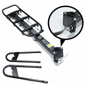 KQP Tablette de Vélo de Haute Qualité Noir léger Vélo arrière Tablette en Alliage d'aluminium arrière étagère Rack Durable vélo arrière étagère (Color : Black, Size : 37×13.8cm)