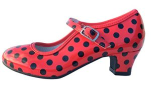 La Senorita Chaussures Flamenco Espagnol de Danse – Rouge Noir, Rouge, 38 EU