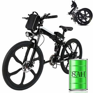Laiozyen Vélo Electrique 26″ e-Bike VTT Pliant 36V 250W Batterie au Lithium de Grande Capacité et Le Chargeur Premium Suspendu et Shimano Engrenage (Typ10_26»)
