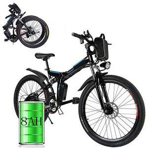 Laiozyen Vélo Electrique 26″ e-Bike VTT Pliant 36V 8AH Batterie au Lithium de Grande Capacité et Le Chargeur Premium Suspendu et Shimano Engrenage (Typ3_26»)