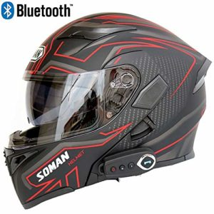 Leaf&Y Casque modulable de Moto Bluetooth pour Moto, Casque Moto Tout-Terrain pour Moto de Course avec Double visière, Microphone à Haut-Parleur intégré,XL