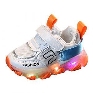 LED Chaussures Baskets Enfants, Lumineuse Chaussures Led Lumière Basket Led pour Garçon et Fille de Marche de Randonnée de Running de Sport Confort(Orange,26)