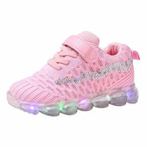 LED Chaussures Baskets Enfants, Lumineuse Chaussures Led Lumière Basket Led pour Garçon et Fille de Marche de Randonnée de Running de Sport Confort(Rose,30)