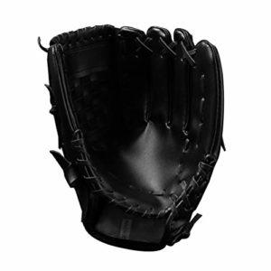 LIOOBO 1 pc 10 5 Pouces épaissir Confortable Durable Gants de Base-Ball Gants Gants Infield Gant pour Adolescents Hommes Enfants Femmes (Noir)