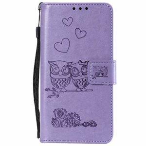 Lomogo Coque Galaxy Note 10, Housse en Cuir Portefeuille avec Porte Carte Fermeture par Rabat Aimanté Antichoc Étui Case pour Samsung Galaxy Note10 – LOHHA100860 Violet