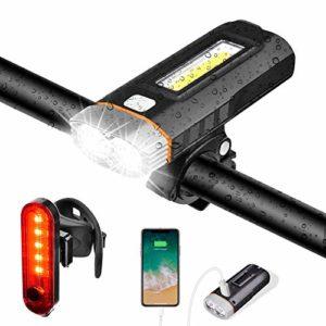 Lumière Vélo Eclairage Lampe Phare LED Bicyclette USB Rechargeable IPX5 Etanche 1000 Lumens 4000 mAh 5 Modes de Luminosité, Lumière Arrière de Velo et Tournevis Inclus