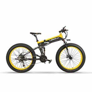 MERRYHE Vélo Pliant Électrique Tout Terrain Large Pneu Vélo Électrique Neige Vélo De Montagne 26 Pouces Vélomoteur Adulte Vélo De Puissance,Yellow-48V10ah