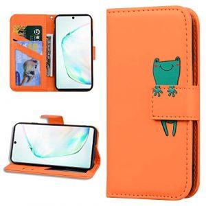 Miagon Animal Flip Coque pour Huawei Y6 2019,Portefeuille PU Cuir TPU Cover Désign Étui Folio à Rabat Magnétique Stand Wallet Case,Orange