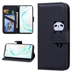 Miagon Animal Flip Coque pour Samsung Galaxy A30S,Portefeuille PU Cuir TPU Cover Désign Étui Folio à Rabat Magnétique Stand Wallet Case,Noir