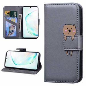 Miagon Animal Flip Coque pour Samsung Galaxy A70S,Portefeuille PU Cuir TPU Cover Désign Étui Folio à Rabat Magnétique Stand Wallet Case,Gris
