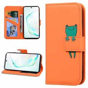 Miagon Animal Flip Coque pour Samsung Galaxy Note 10,Portefeuille PU Cuir TPU Cover Désign Étui Folio à Rabat Magnétique Stand Wallet Case,Orange