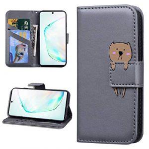 Miagon Animal Flip Coque pour Samsung Galaxy S10e,Portefeuille PU Cuir TPU Cover Désign Étui Folio à Rabat Magnétique Stand Wallet Case,Gris