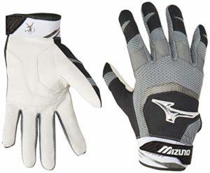 Mizuno Finch Adult Women's Fastpitch Softball Batting Gloves, X-Large, Black/White