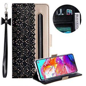 Moiky Sangle Portefeuille pour Galaxy A70,Fermeture éclair Étui à Rabat pour Galaxy A70,Élégant Noir Dentelle Fleur Imprimé Magnétique Étui Cuir PU avec support Porte-Cartes Pliable