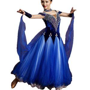 MoLiYanZi Valse Costumes de Danse Moderne pour Femme Grande Balançoire Velours Tulle Perler Luxe Robes de Danse de Salon, Blue, XL