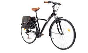 Moma Bikes Vélo Trekking, HYBRID 28″, Aluminium, SHIMANO 18V, Suspension Avant