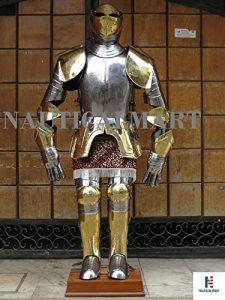 NAUTICAL MART nautique Mart Halloween Reenactment Doré gravé espagnol médiéval Chevalier Costume d'Armour par Nauticalmart