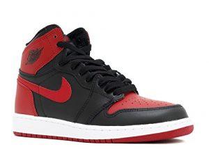 Nike Air Jordan 1 Retro High OG BG Chaussures de Basket-Ball, Garçons, Noir, 37 1/2