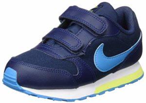 Nike MD Runner 2 (TD), Chaussures de Gymnastique Mixte bébé, Marine Minuit/Laser Bleu/Venom Citron, 34 EU