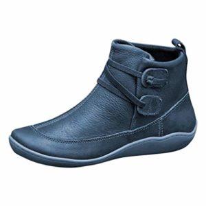 NISOWE Bottines pour Dames Bottes en Cuir Vintage Chaussures éTanches Plates Baskets à Bout Rond en Hiver
