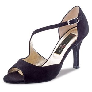 Nueva Epoca–Tango/Salsa Femme Chaussures de Danse Hermosa–Suède noir–7cm XS noir