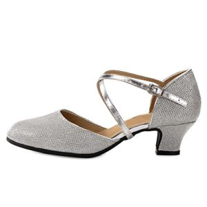 OCHENTA Femme Chaussure de Danse Hauteur de Talon 3.5cm 5.5cm au Choix Semelle pour Intérieur ou Extérieur Danse Latine Argent Extérieur 3.5CM Asiatique 40-EU 39