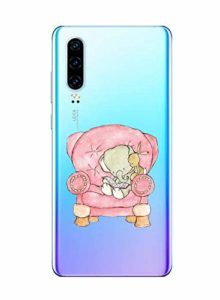 Oihxse Compatible pour Huawei P Smart/Enjoy 7S/Honor 9 Lite Coque [Mignon Transparente Éléphant Lapin Motif Séries] Housse TPU Souple Protection Étui Ultra Mince Anti Choc Animal Case (A1)