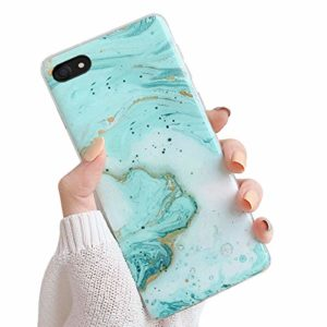 Oihxse Compatible pour iPhone XS Max/iPhone 10 Plus Coque Marbre Motif Stitching Crystal Ultra-Mince Protection Housse en Silicone TPU Souple Flexible Bumper Anti Choc Etui Case (Cyan)