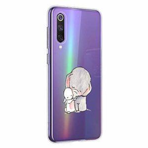 Oihxse Compatible pour Xiaomi Mi 10 Pro 5G Coque [Mignon Transparente Éléphant Lapin Motif Séries] Housse TPU Souple Protection Étui Ultra Mince Anti Choc Animal Case (A2)