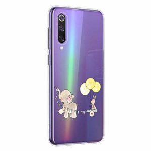 Oihxse Compatible pour Xiaomi Mi 8 Coque [Mignon Transparente Éléphant Lapin Motif Séries] Housse TPU Souple Protection Étui Ultra Mince Anti Choc Animal Case (A10)