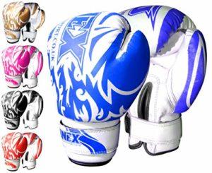 ONEX Enfants Gants de Boxe Junior Gants MMA Sport d'entraînement Cuir synthétique Boxing Gloves 6oz (Blue)