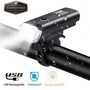 OUTERDO Lampe de Velo Avant, Lumières de Vélo 600 Lumens LED Éclairage Vélo Super Lumineux USB Rechargeable IPX4 Imperméable pour Vélo VTT VTC