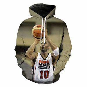 OUTWEAR # 24 Kobe Bryant Basketball Fan Capuchons pour Hommes Pull à Capuche 3D Printemps Pull Sauteur en Longueur Casual T-Shirt Manches Tops avec Poche – Cadeaux Ados D-M