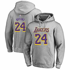 OUTWEAR Unisexe Hoodies Pull De Basket-Ball Kobe Bryant Fan # 24 Los Angeles Lakers Sweat-Shirt Pull Spring Casual Jumper T-Shirt Tops avec Poche – Cadeaux Ados Grey-XL