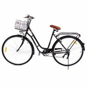 Paneltech 28 pouces Ville pour Femme Homme de Vélo , Vélos de ville Vélo Hollandais à 7 Vitesses Femme City Bike, Avec Panier et Feu Avant (Noir)