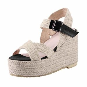 PAOLIAN Femmes Sandales Wedge Platform Été 2020 Chaussures Femmes Talons Hauts Élégants Espadrilles Pas Cher Femmes Sandales Paille Tissu Robe De Soirée Bout Ouvert