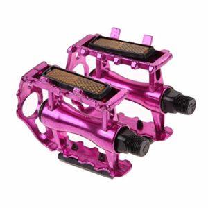 Pédales pour vélo 4 Couleurs 1 Paire Ultralight Bike Bicycle Pedals VTT Partie De Vélo Pédale Vélo Alliage D'aluminium Ultra-Léger Creux Plat Cage Pédales (Color : Pink)