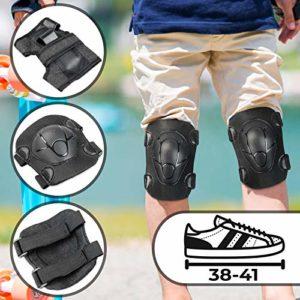 Physionics Set de 6 Protections pour Skate Board/Rollers | Taille L – Pointure: 38-41, Jusqu'à 50 kg | Protection Enfant Genouillères, Protection du Genou