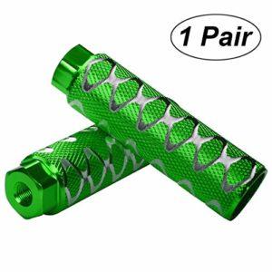 Piquets de vélo, Helaryfreemear 2pcs en alliage d'aluminium antidérapante Laisse Pied BMX Pegs ajustement 3/20,3cm essieux, Green, 2