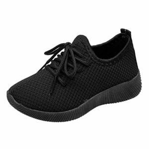 POIUDE GarçOn Fille Chaussure de Course Chaussures de Outdoor Sneakers Mode Basket Chaussure de Course Sport Walking Shoes Running CompéTition EntraîNement Chaussure Pour 3-13 Ans(Noir,13 Ans)