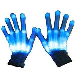 Primi une paire Danse Carnaval Concert fête d'éclairage LED Clignotant Glow Coton doigt Main Gloves-blue