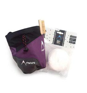 Psychi – Kit Escalade de Bloc – kit de Base de qualité – Sac à magnésie avec Ceinture/Boule de magnésie/Brosse – Violet
