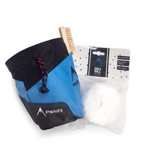Psychi Pack de démarrage pour escalade/varappe avec sac à magnésie/ceinture/boule de magnésie/brosse, bleu