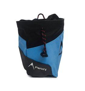 Psychi – Sac à magnésie pour Escalade – Haute qualité – avec Ceinture/Poche zippée arrière – Bleu