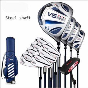 QIAO Clubs de Golf, Hommes débutants 12 pièces Full Set bâton de Golf, Alliage de Titane Un Bois (L: Corps en Acier Tige, XL: Tige de Carbone),L