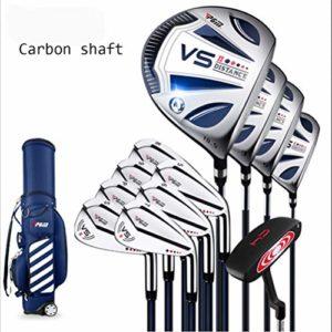 QIAO Clubs de Golf, Hommes débutants 12 pièces Full Set bâton de Golf, Alliage de Titane Un Bois (L: Corps en Acier Tige, XL: Tige de Carbone),XL