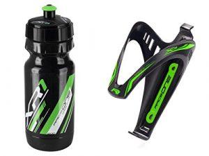 RaceOne.it – KIT Fluo Race – 2 PCS – Bidon avec Porte-bidon de Vélo. Bouteille d'eau avec support pour Cyclisme VTT/ Vélo de Route / MTB / Gravel Bike. Bottle XR1 + Bottle Cage X3 /600 CC. Coleur: Vert Fluo – 100% MADE IN ITALY